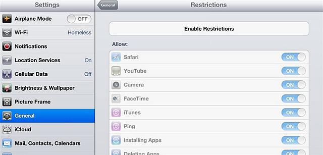 Enable Restrictions for iPad