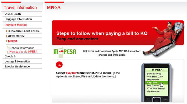 Book and Buy Kenya Airways Ticket via MPESA